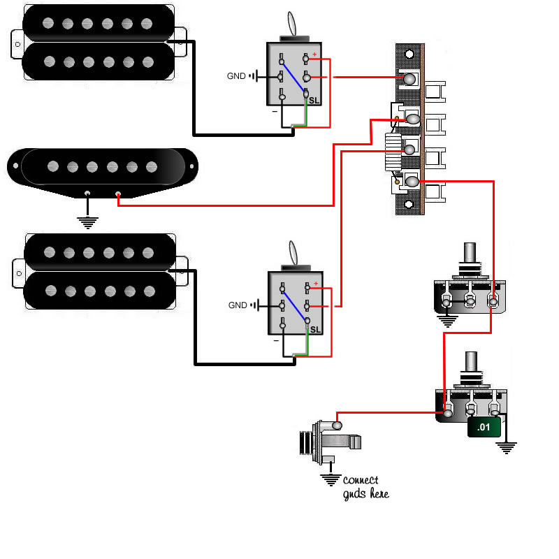 guitar wiring tips tricks schematics and links push pull pot 2 humbuckers 1 singlecoil 2 coil select switches 5way 1vol 1tone