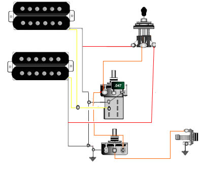 Dual Humbucker Wiring Diagram also Semi Active Guitar Wiring Simple And together with Billy Corgan likewise Electric Guitar Wiring Diagram Two Pickup additionally Emg Hb Wiring Diagram. on humbucker wiring diagrams