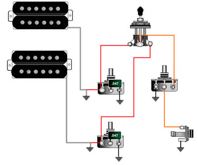 2hb_2tone_1vol_3way guitar wiring, tips, tricks, schematics and links double humbucker wiring diagram at bayanpartner.co
