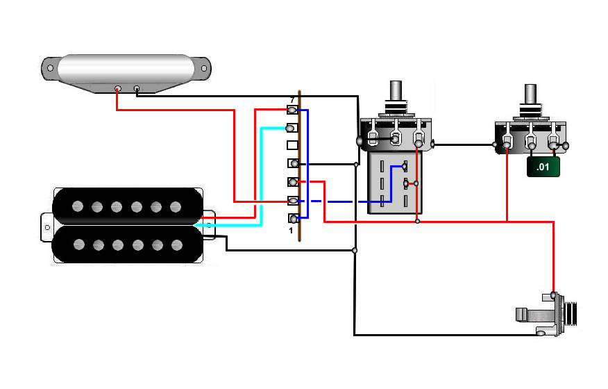 guitar wiring, tips, tricks, schematics and links Bridge Humbucker Strat Wiring Diagram neck coil1, neck bridge humbucker, bridge coil2, bridge humbucker (or something like that, i forget exactly )