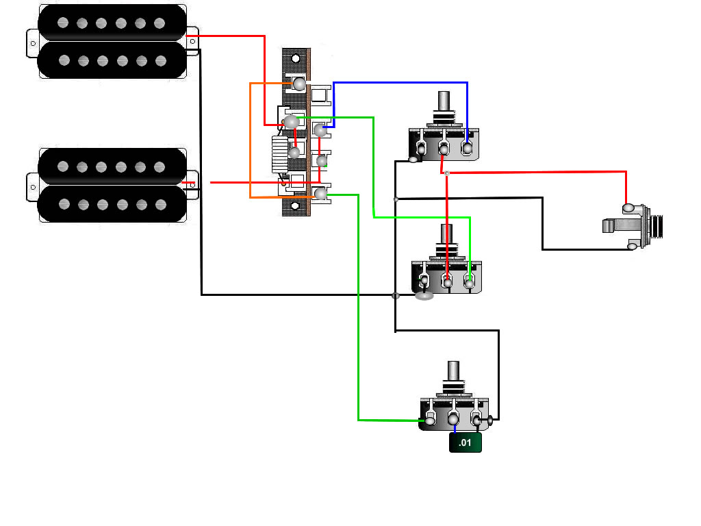 Guitar Wiring Tips Tricks Schematics And Links Humbuckers 3way Toggle Switch 1 Volume Tone Coil Tap Reverse 2hb2vol1tonetele3way